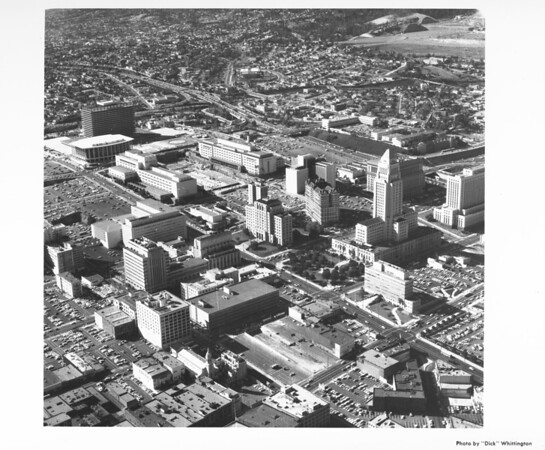 Aerial view of Civic Center, First Street, music center