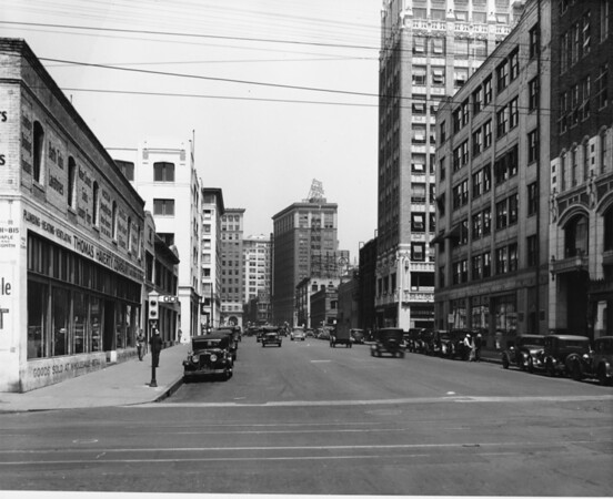A row of buildings looking down Eighth Street from Maple Avenue