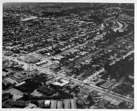 Aerial view facing north over the boundary between Los Angeles and Santa Monica at Wilshire Boulevard and Centinela Avenue