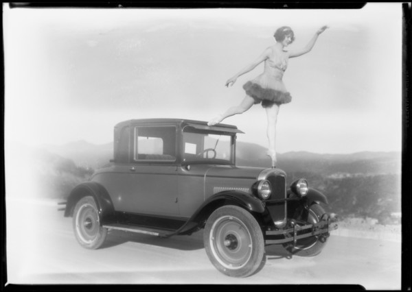 Chevrolet with dancer on radiator, Southern California, 1927