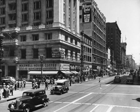 In Downtown Los Angeles, facing north on South Broadway at West Eighth Street