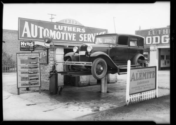 Interiors and exteriors of garage, 1212 West Slauson Avenue, Los Angeles, CA, 1932