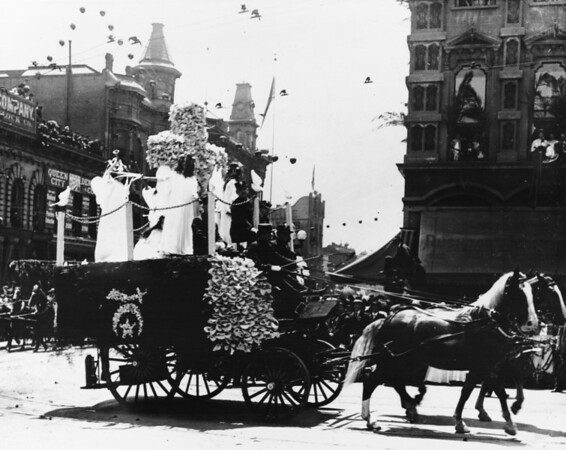 Shriner's parade, horse and carriage, Queen City Dentist