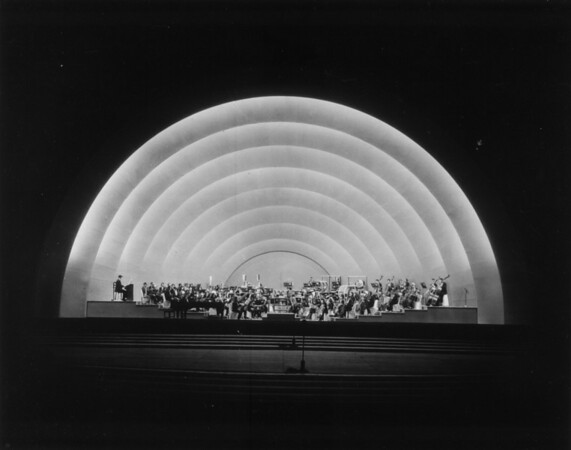 Looking toward the orchestra during a nightime concert at the Hollywood Bowl