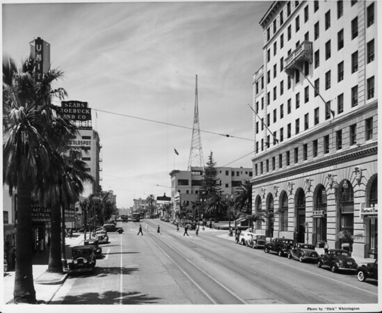 Looking down Colorado Street in Pasadena with the Radio Towers in the background