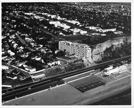 Aerial view over Pacific Palisades / Santa Monica line