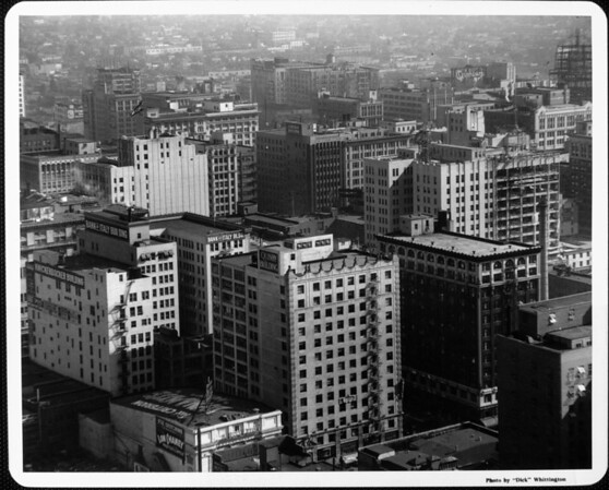 Buildings in downtown Los Angeles including: The Criterion, the Knickerbocker Building, the Bank of Italy Building