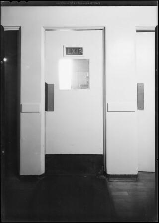 Swinging door in Angeles Hospital, Eells versus Angeles Hospital, Southern California, 1930