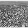 Aerial view downtown Los Angeles, Dodger Stadium, Harbor Frwy (I-110), Civic Center