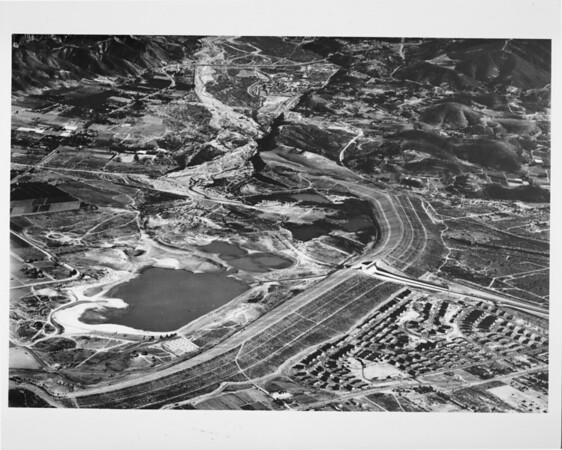 Aerial view over Hansen Dam north of Sun Valley in the San Fernando Valley between Osborne Street and Wentworth Street