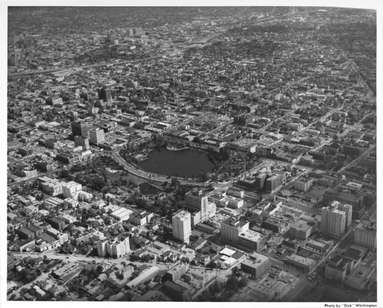 Aerial view of MacArthur Park in Westlake facing south towards the Harbor Freeway (I-110) and the Santa Monica Freeway (I-10) Interchange
