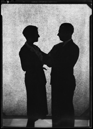 Silhouette of Clune and wife, Southern California, 1930