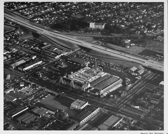 Theme Hosiery building, dairy distribution center, railroad tracks, freeway, Lounsberry & Harris Company