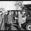 Yellow Cab with 5 men, Ambassador Hotel, Los Angeles, CA, 1927