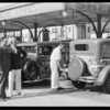 Elks caravan information cars at Shell station, Southern California, 1931