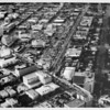 Aerial view facing north over the corner of Wilshire Boulevard and Crescent Drive in Beverly Hills