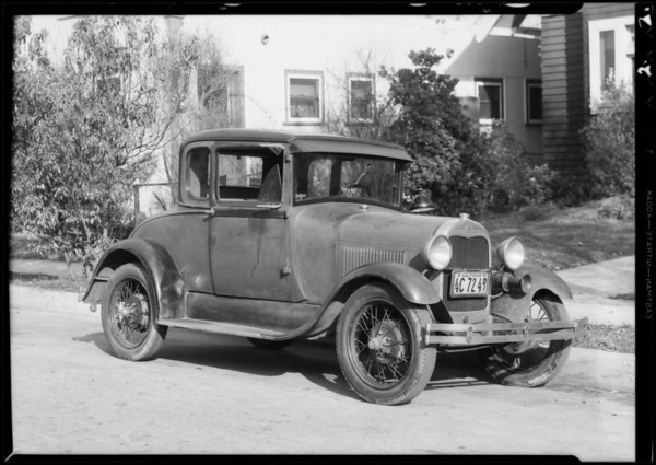 Ford coupe, Thomas E. Frandsen, owner and assured, Southern California, 1934