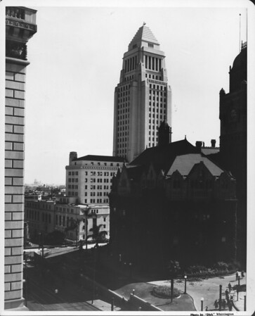 In the Civic Center of Downtown Los Angeles at Temple Street and Broadway, the old Courthouse with City Hall in the background