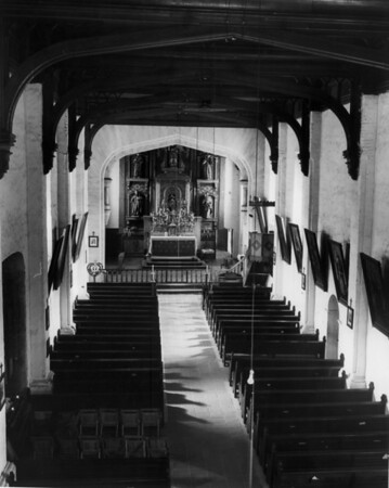 The interior of the San Gabriel Mission church, looking toward the altar