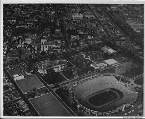 Aerial photo facing northeast over Exposition Park and the University of Southern California (USC) in central Los Angeles