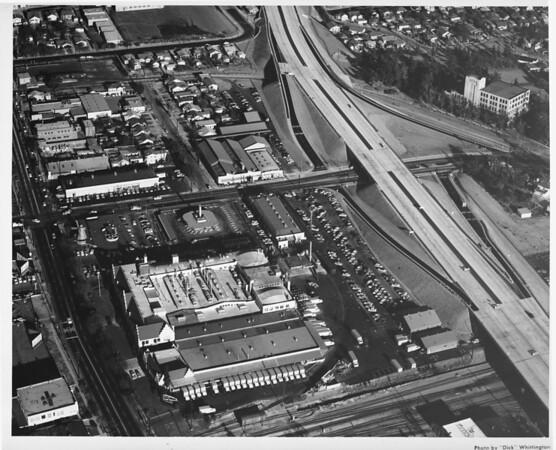 Aerial view over Van de Kamps Bakery north west of the Glendale (CA-2) Freeway at San Fernando Road