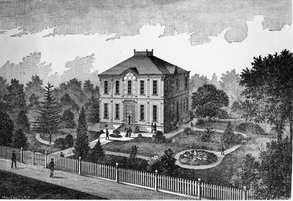 Etching [drawing] of what is now the Alumni House on Childs Way in the University of Southern California (USC) campus