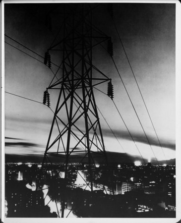 Los Angeles night lights and electric power cable