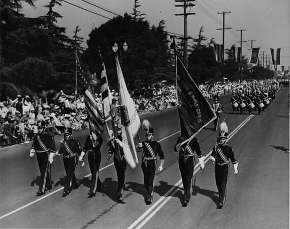 The American Legion Color Guard in the American Legion parade on Figueroa Street