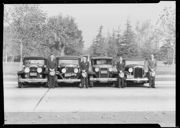 Salesmen and cars, West American Insurance, Southern California, 1932