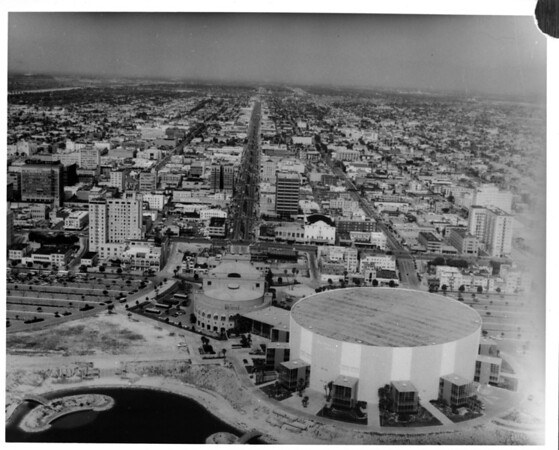 Aerial view facing north over the Long Beach Convention Center in downtown Long Beach