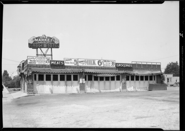 Milk sign on market building, Southern California, 1932