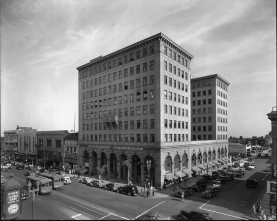 A high-angle corner view of the Security-First National Bank of Los Angeles