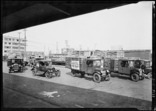 Maytag trucks at U.P. yards, Southern California, 1926