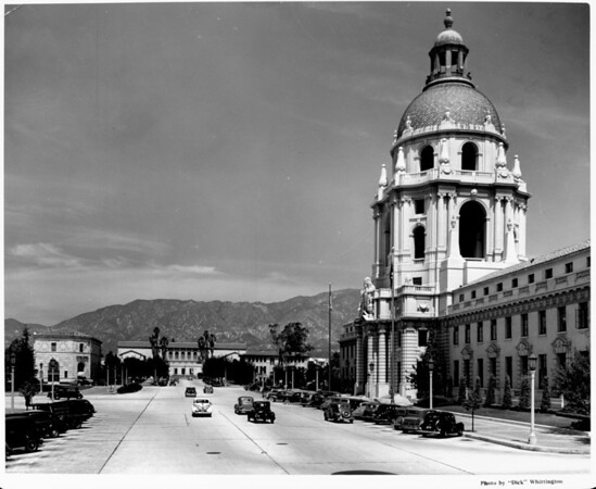 A side view of the Pasadena City Hall seen with the Civic Center