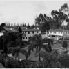 Exterior of residential home in 1948, landscaping, private garden