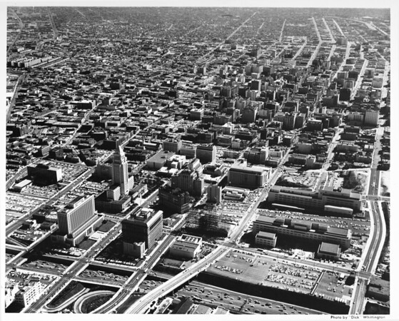 Aerial view of downtown Los Angeles looking south from the Hollywood Freeway and Grand Avenue, Civic Center