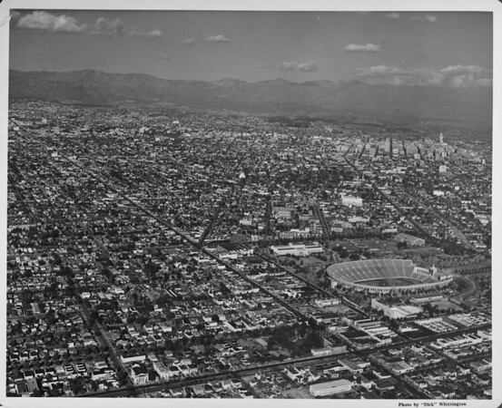 Aerial view of the Coliseum, Downtown Los Angeles, University of Southern California (USC)
