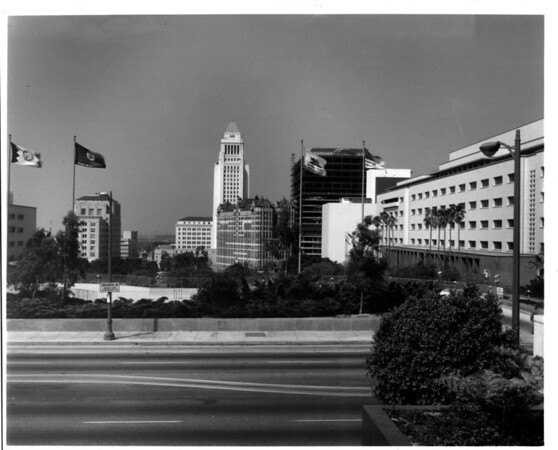 In the Civic Center in Downtown Los Angeles facing east towards City Hall from Grand Avenue