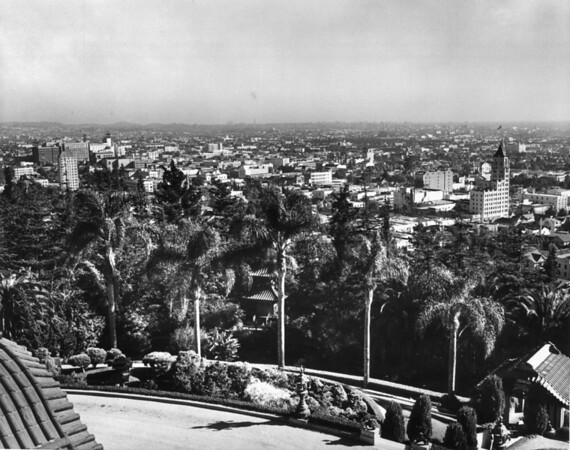 Palm trees and Japanese style houses can be seen in the Hollywood Franklin Park with the buildings of the city in the background