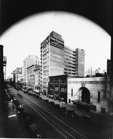 In Downtown Los Angeles, facing north on South Hill Street between West Eighth Street and West Seventh Street