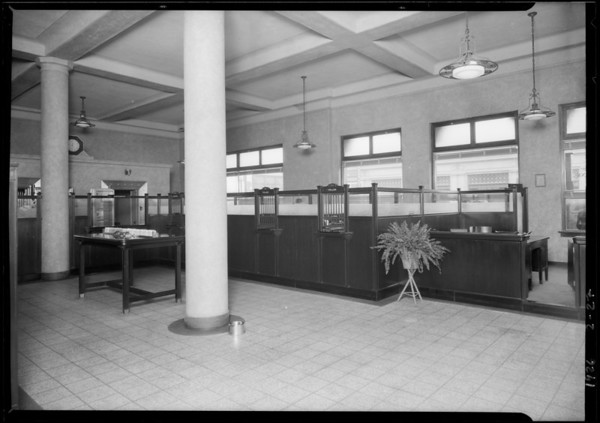 Interiors only of Pacific-Southwest Bank, West Washington Boulevard & South Vermont Avenue, Los Angeles, CA, 1926
