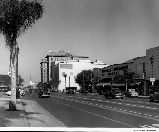 Looking down Wilshire Boulevard as people and cars traverse its terrain
