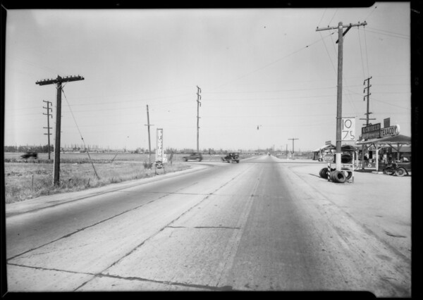 Intersection of South Western Avenue and West Rosecrans Avenue, Southern California, 1931