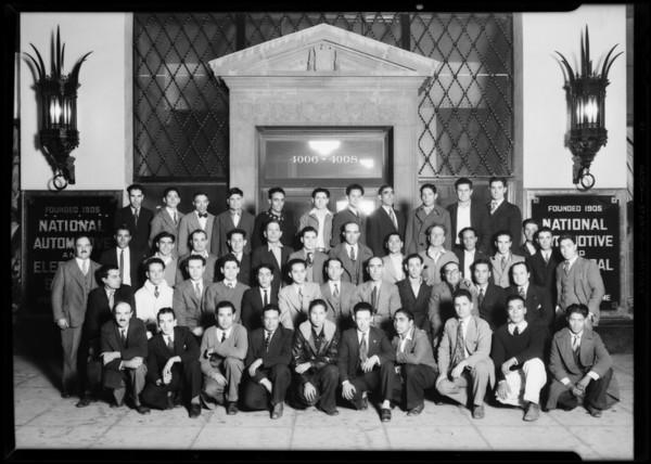 Spanish students, National Automotive School, Southern California, 1930