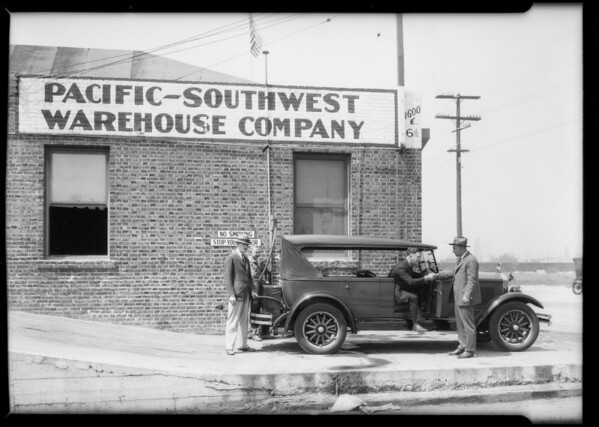 Velie car at Pacific-Southwest Warehouse Company, Los Angeles, CA, 1925