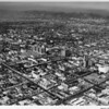 Aerial view, Ambassador Hotel, Gaylord Apartments, Wilshire Boulevard, Vermont Avenue, Wiltern Theatre, Brown Derby Restaurant, Wilshire Boulevard Temple