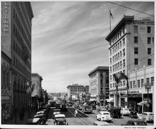 Looking down Colorado Street with the Citizen's Commercial Trust and Savings Bank to the right