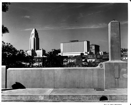 Looking into the Civic Center of Downtown Los Angeles, City Hall, County Criminal Courts Building, Hall of Justice