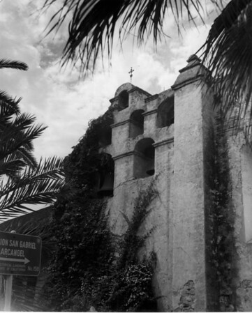 A view of the San Gabriel Mission belfry, which holds five bells of varying sizes cast in 1795, 1828, and 1830