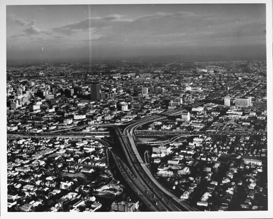 Downtown Los Angeles, aerial view from above the I-10 and I-110 freeway interchange